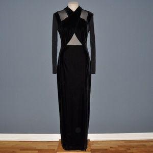 Vintage TADASHI Black Velvet+Mesh Cutout Dress L